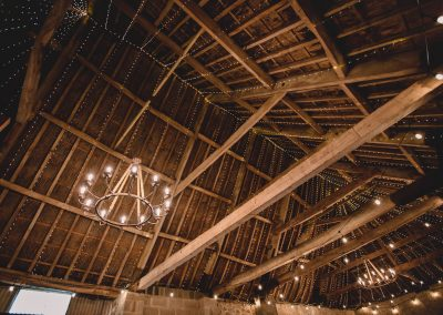 Exposed beams and fairytale lighting
