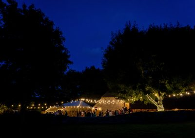Apple barn wedding venue at night